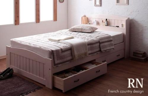 フレンチカントリー調収納ベッド