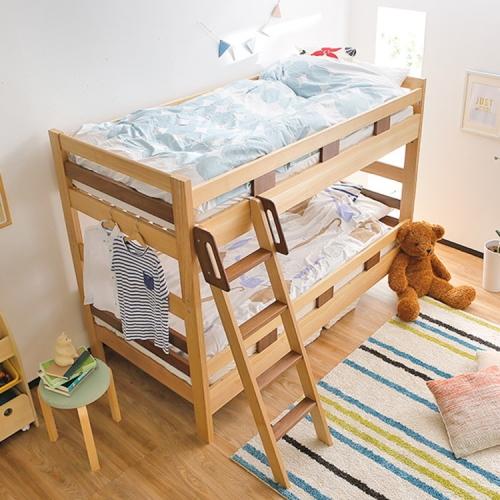 天然木ツートン2段ベッド